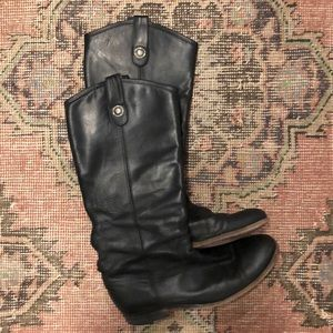 Frye Melissa black leather boots. Size 8.